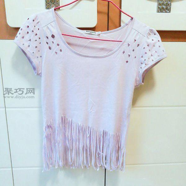 舊T恤改造流蘇衫 第5步