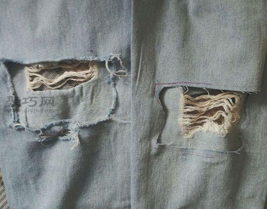 后面破洞牛仔裤 第4步