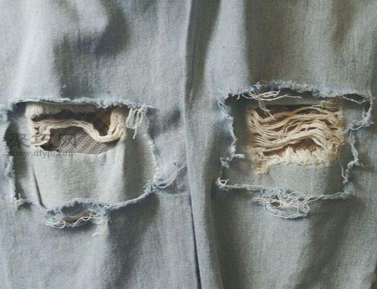 后面破洞牛仔裤 第5步