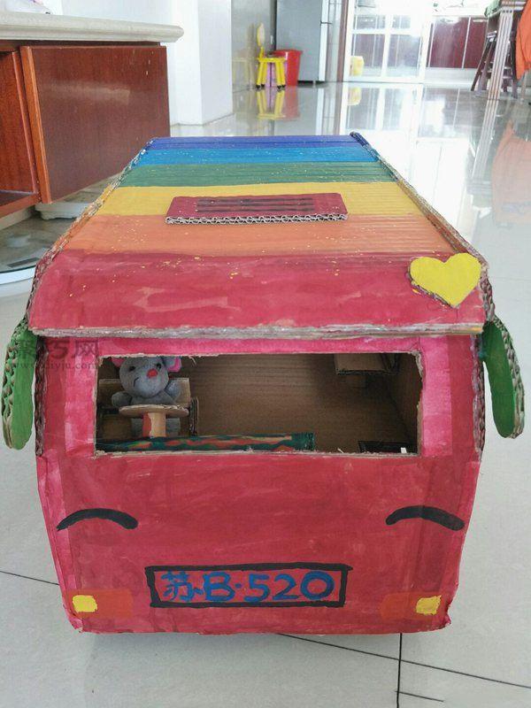 廢紙盒做公交車 第17步