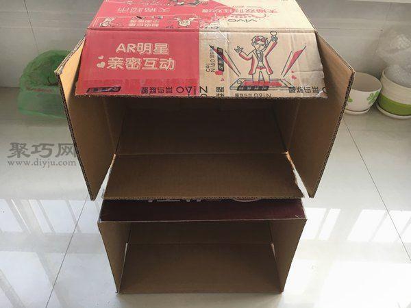 舊紙箱改鞋架 第2步