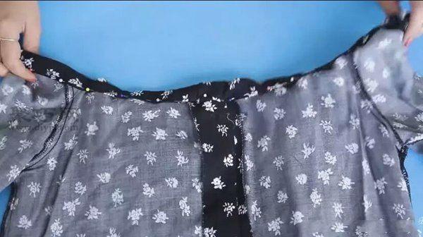 舊襯衫改造改成一字肩 第5步