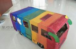 小朋友手工制作教程用廢舊紙箱DIY玩具公共汽車