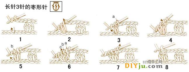 钩针编织花样-短针((见上图) 1、向上锁1针后,从第2针的半针和内侧之间穿针; 2、把针钩在线上,按箭头方向拉出www.diyju.com; 3、再一次在针上挂线,一次拉出两个圈; 4、用相同的方法反复编织。