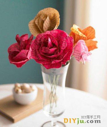旧杂志废物利用 DIY制做纸玫瑰花