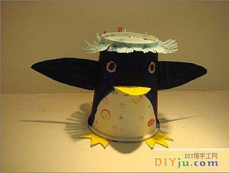 一次性纸杯做手工制作小企鹅