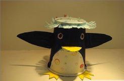 一次性紙杯做手工制作小動物之小企鵝