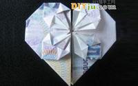 怎么用錢折紙心:5元人民幣折心圖解教程