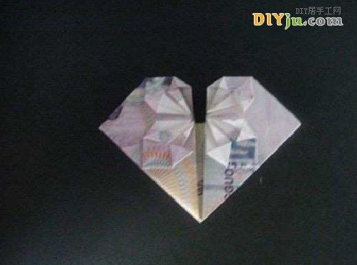 怎么用钱折纸心:5元人民币折心图解教程