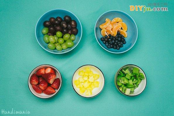 創意水果拼盤準備好的材料
