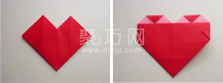 正方形紙折愛心圖解第6步