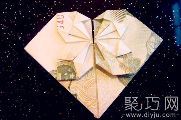 【钱币折纸欣赏】用5毛,5元,1元钱折纸心