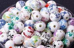 中國結材料配件12MM貼花陶瓷圓珠