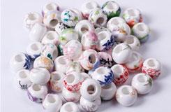 中國結配件13MM扁大孔貼花陶瓷珠子