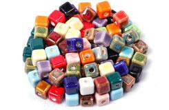 中���YDIY材料8MM方形�色陶瓷珠