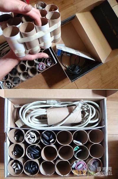 鞋盒變身電線收納盒