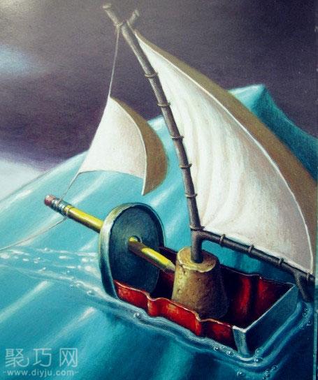 超简单的易拉罐制作小帆船教程