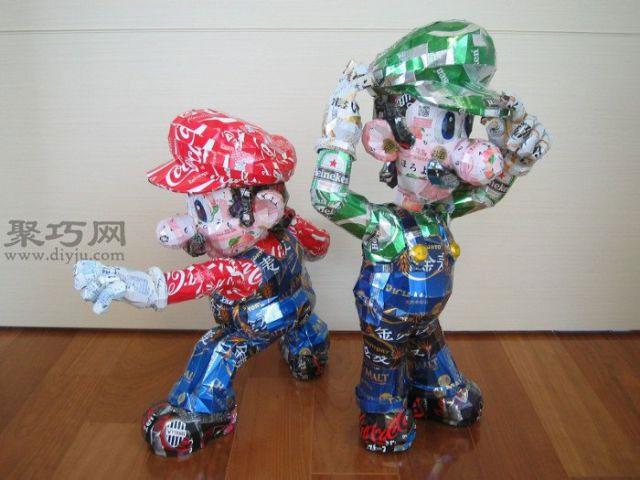 易拉罐废物利用作品集:易拉罐手工制作卡通人物
