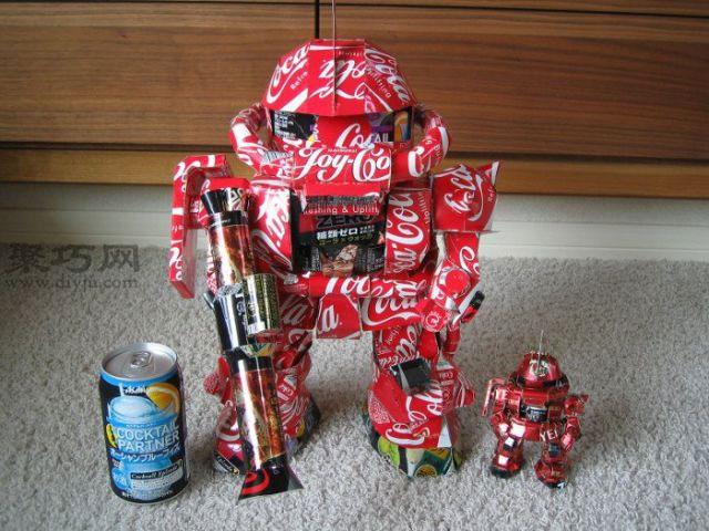易拉罐手工制作机器人 图片合集