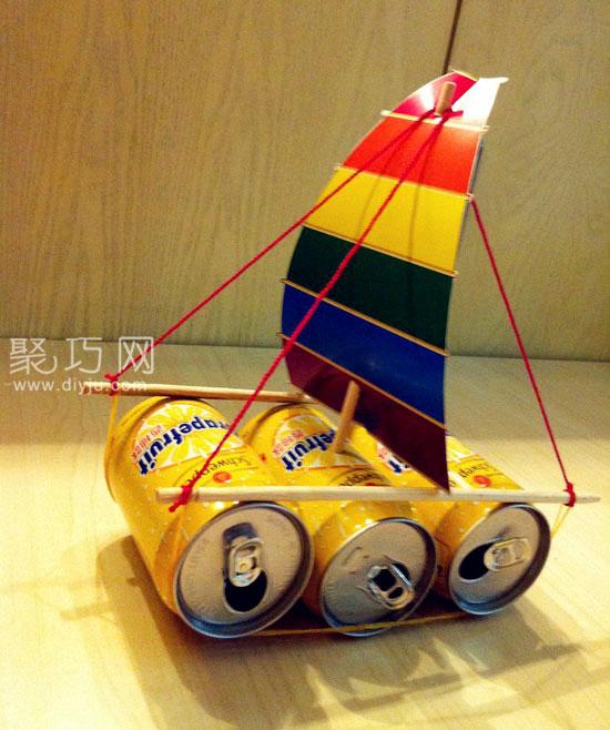 易拉罐手工制作環保小帆船