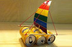 易拉罐手工制作環保小帆船 5步學會易拉罐做帆船