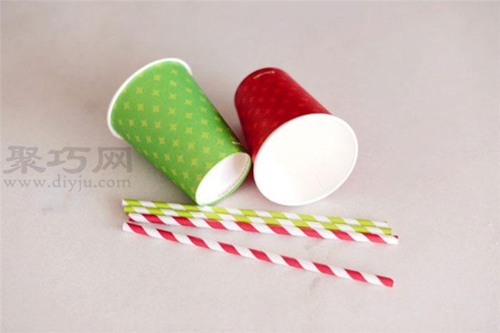 纸杯手工制作圣诞鹿材料:2个一次性纸杯