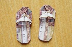 超级萌的用钱折纸教程 1毛钱折纸小拖鞋