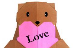 簡單的愛心呆呆熊折紙方法圖解
