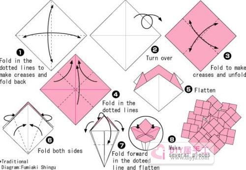 手工折纸大全绣球花制作教程