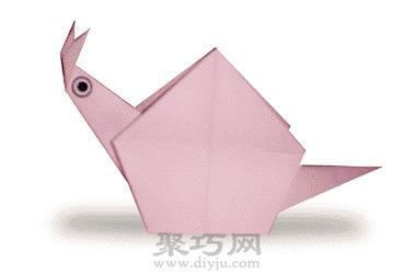 幼儿园动物手工折纸图解教程:折纸蜗牛