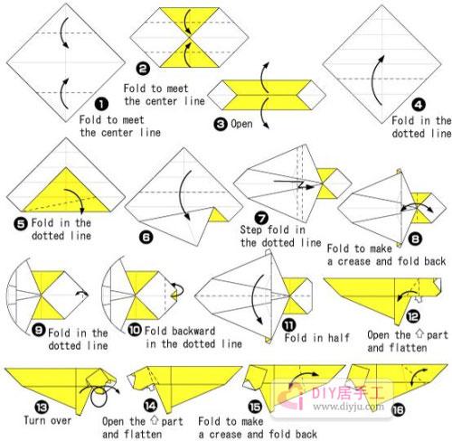 手工折纸 折纸     步骤1:首先将方形的纸张上下两个