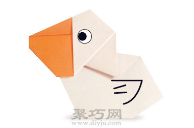 幼儿简单手工折纸动物教程:折纸鹈鹕