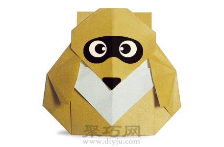 儿童简单动物手工折纸教程:折纸浣熊