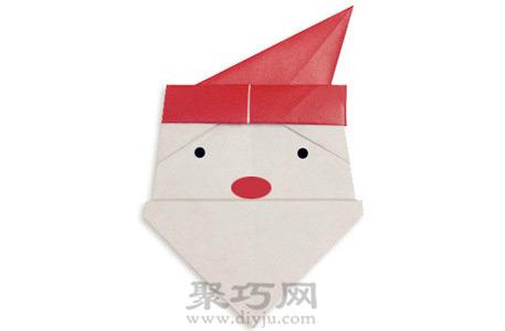 简单折纸手工diy圣诞老人脸教程完成后可爱的圣诞老人脸