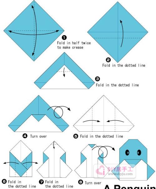 可爱手工折纸企鹅简单折纸教程