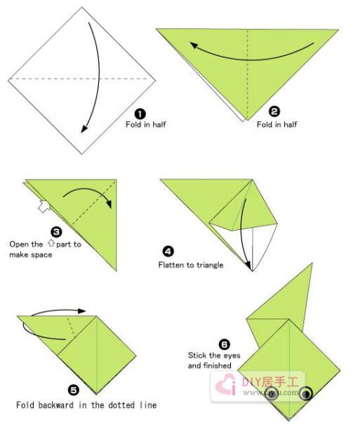 手工简单折纸青蛙折纸教程图片