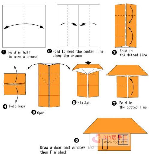 手工简单折纸小房子折纸教程