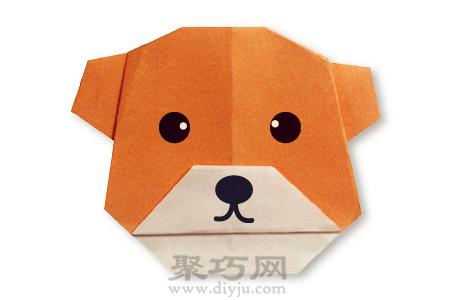 手工简单折纸小熊脸教程图解