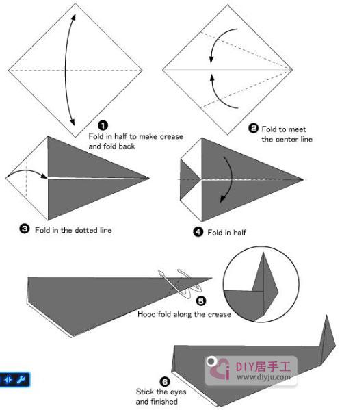 鲸鱼折纸图解教程非常适合儿童折纸