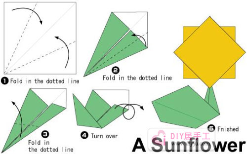 简单手工折纸太阳花折纸教程图解