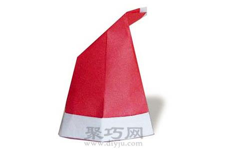 圣诞帽手工折纸diy简单图解教程成品折纸帽子