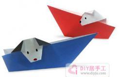 小狗坐紙船簡單手工折紙大全教程