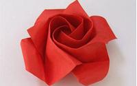 一朵�t色�玫瑰的折法 折�玫瑰花步�E�D解