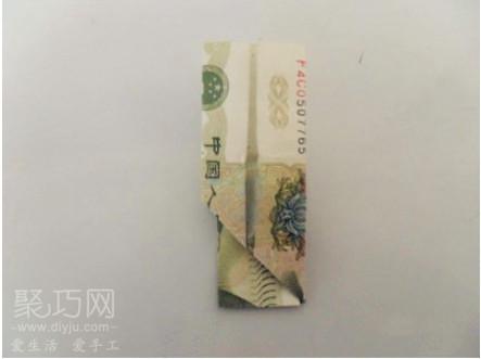 用一元钱折纸戴斗笠的毛爷爷教程5