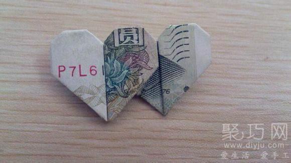 100元 全聚一起了,大家在根据这个人民币折双心图解