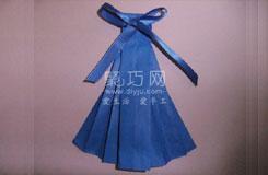 手工折紙裙子的疊法 折帶蝴蝶結的裙子