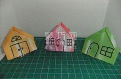 小房子折紙步驟圖 折疊帶煙囪的紙房子