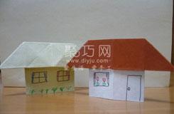手工折紙房子圖解教程 教你立體房子的折法