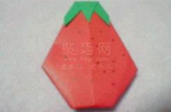 简单草莓的折法 平面草莓折纸图解