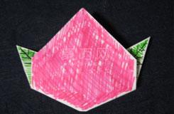 長方形紙怎么折桃心 折紙立體桃子圖解教程
